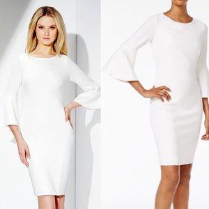 Calvin Klein: Bell Sleeve White Sheath Dress